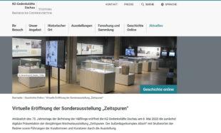 Die Webseite der Gedenkstätte Konzentrationslager Dachau mit der virtuellen Eröffnung